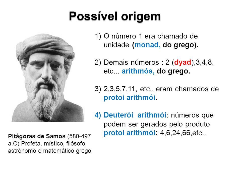 Possível origem O número 1 era chamado de unidade (monad, do grego).