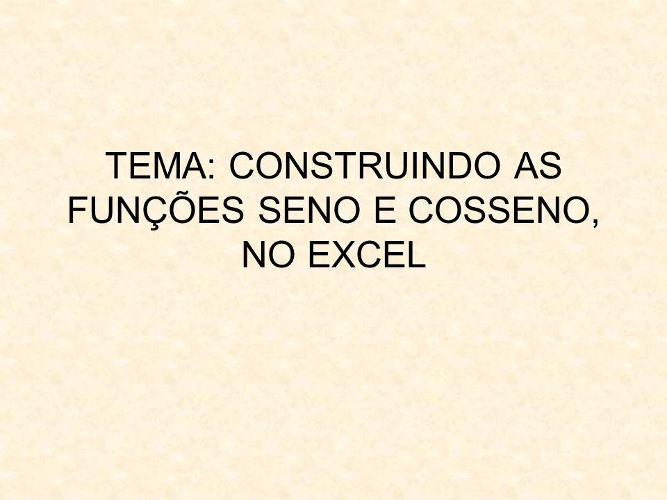 TEMA: CONSTRUINDO AS FUNÇÕES SENO E COSSENO, NO EXCEL