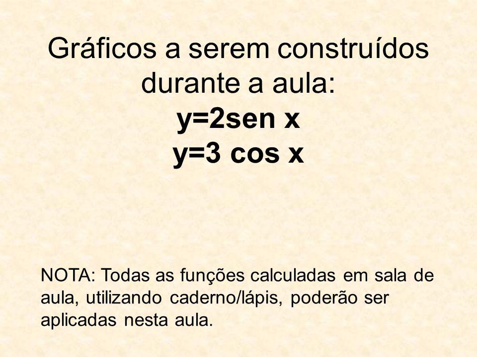 Gráficos a serem construídos durante a aula: y=2sen x y=3 cos x