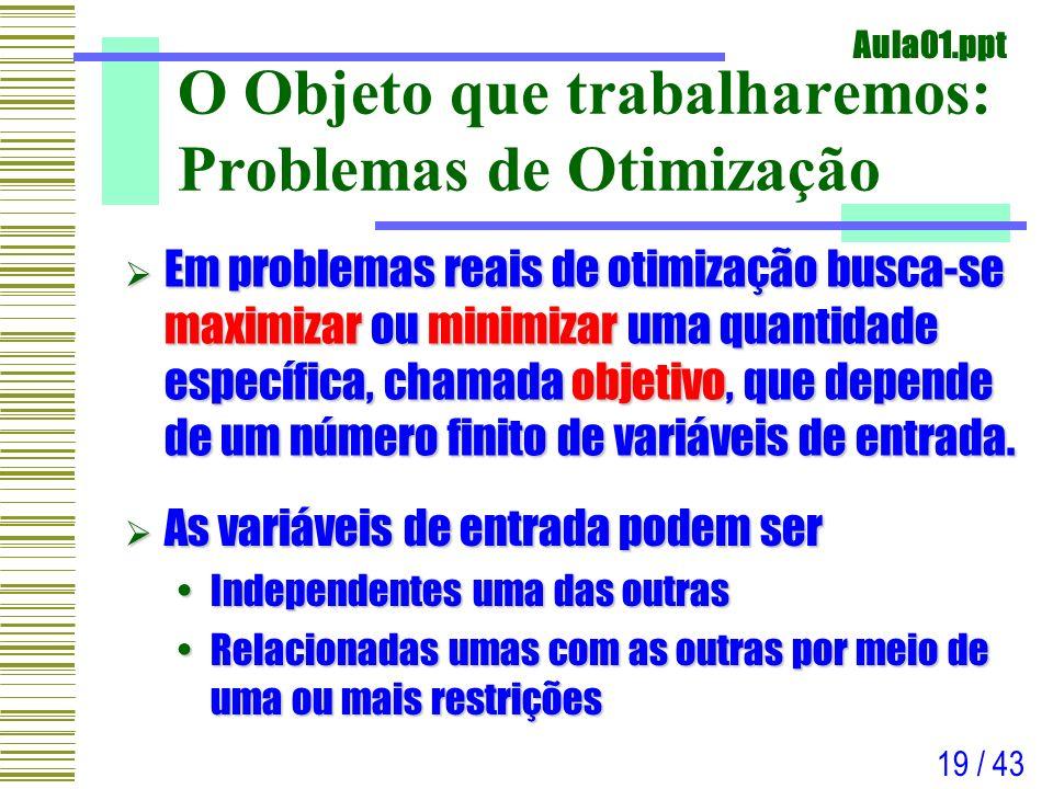O Objeto que trabalharemos: Problemas de Otimização
