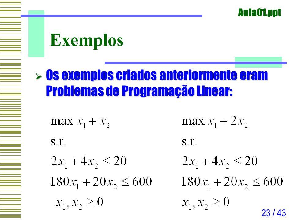 Exemplos Os exemplos criados anteriormente eram Problemas de Programação Linear: