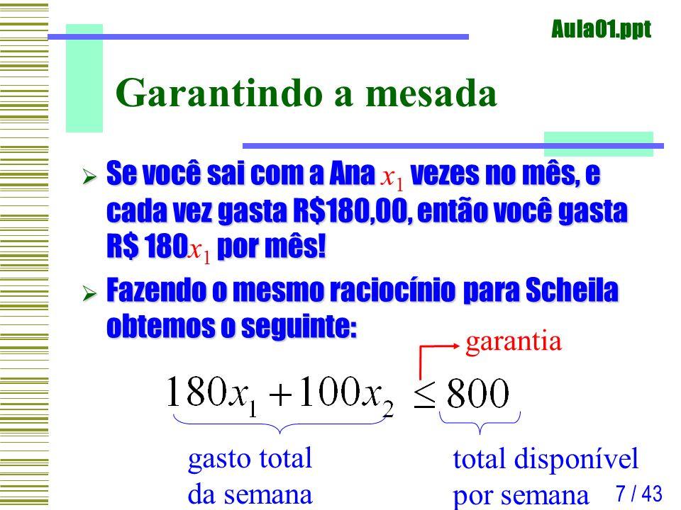 Garantindo a mesada Se você sai com a Ana x1 vezes no mês, e cada vez gasta R$180,00, então você gasta R$ 180x1 por mês!