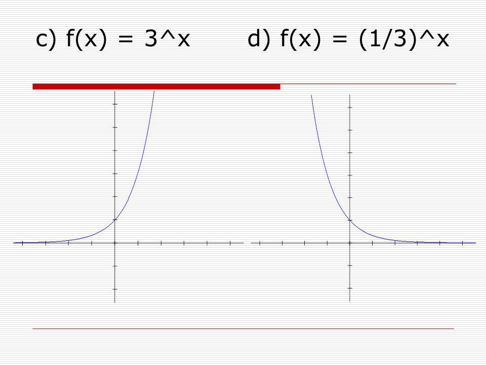c) f(x) = 3^x d) f(x) = (1/3)^x