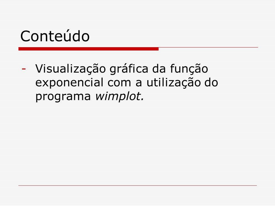 Conteúdo Visualização gráfica da função exponencial com a utilização do programa wimplot.