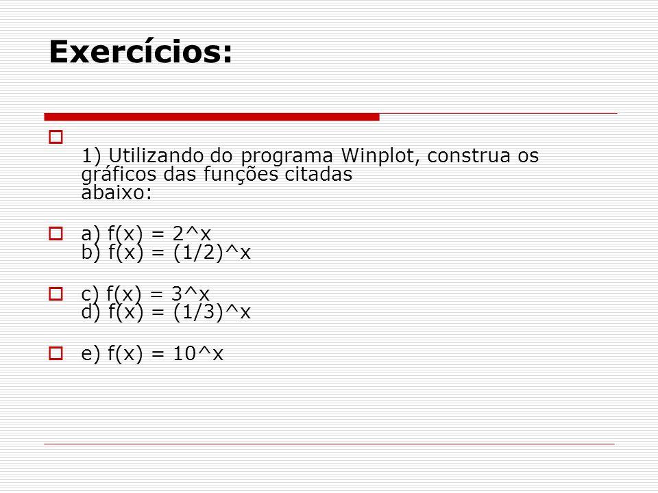 Exercícios: 1) Utilizando do programa Winplot, construa os gráficos das funções citadas abaixo: a) f(x) = 2^x b) f(x) = (1/2)^x.