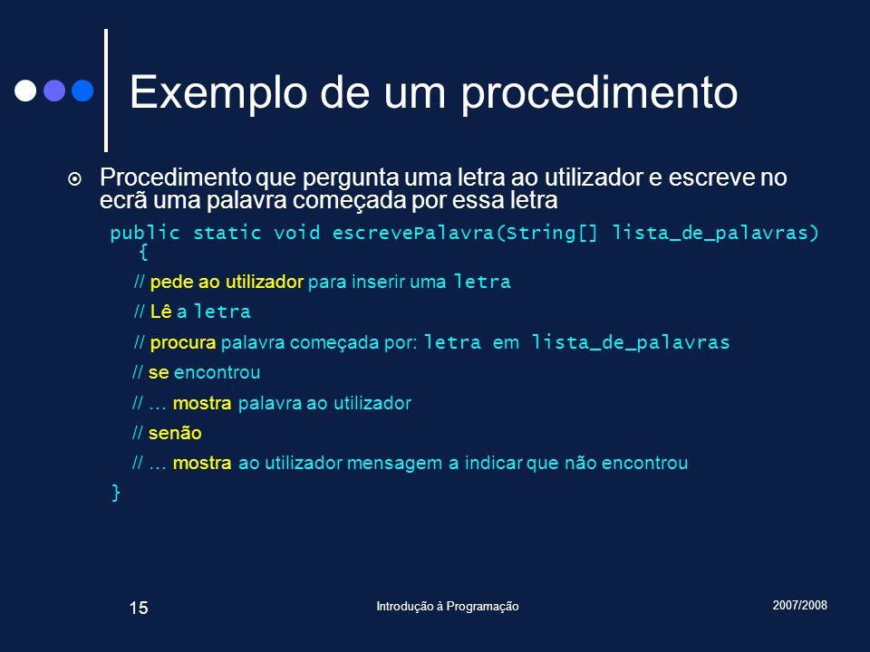 Exemplo de um procedimento