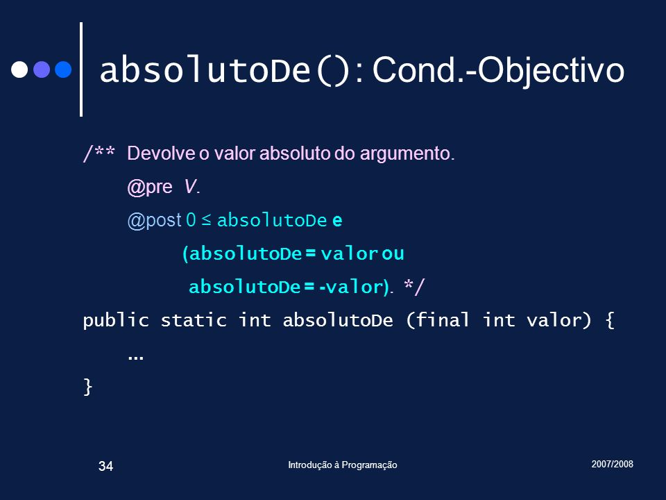 absolutoDe(): Cond.-Objectivo