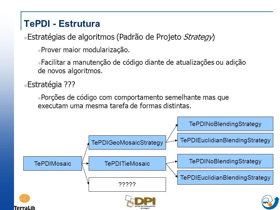 TePDI - Estrutura Estratégias de algoritmos (Padrão de Projeto Strategy) Prover maior modularização.