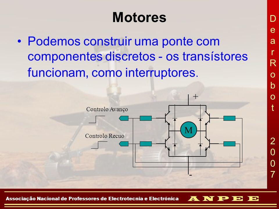 Motores Podemos construir uma ponte com componentes discretos - os transístores funcionam, como interruptores.