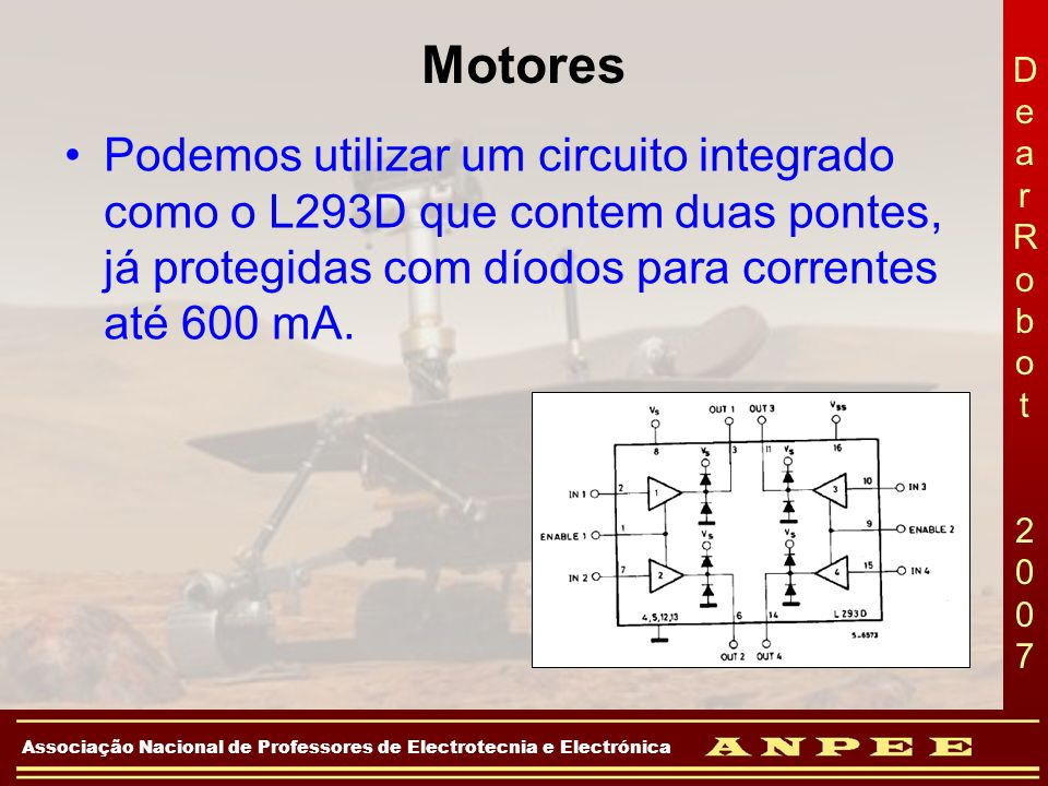 Motores Podemos utilizar um circuito integrado como o L293D que contem duas pontes, já protegidas com díodos para correntes até 600 mA.