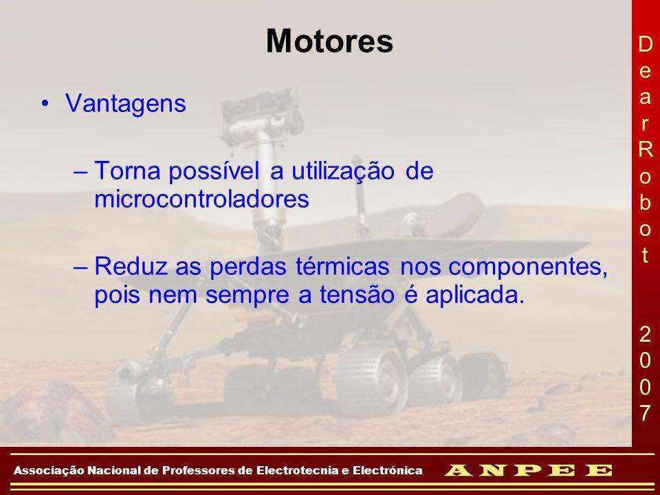 Motores Vantagens Torna possível a utilização de microcontroladores