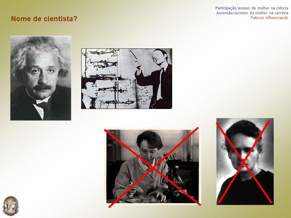 Nome de cientista Participação/acesso da mulher na ciência