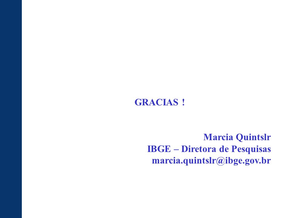 GRACIAS ! Marcia Quintslr IBGE – Diretora de Pesquisas marcia.quintslr@ibge.gov.br