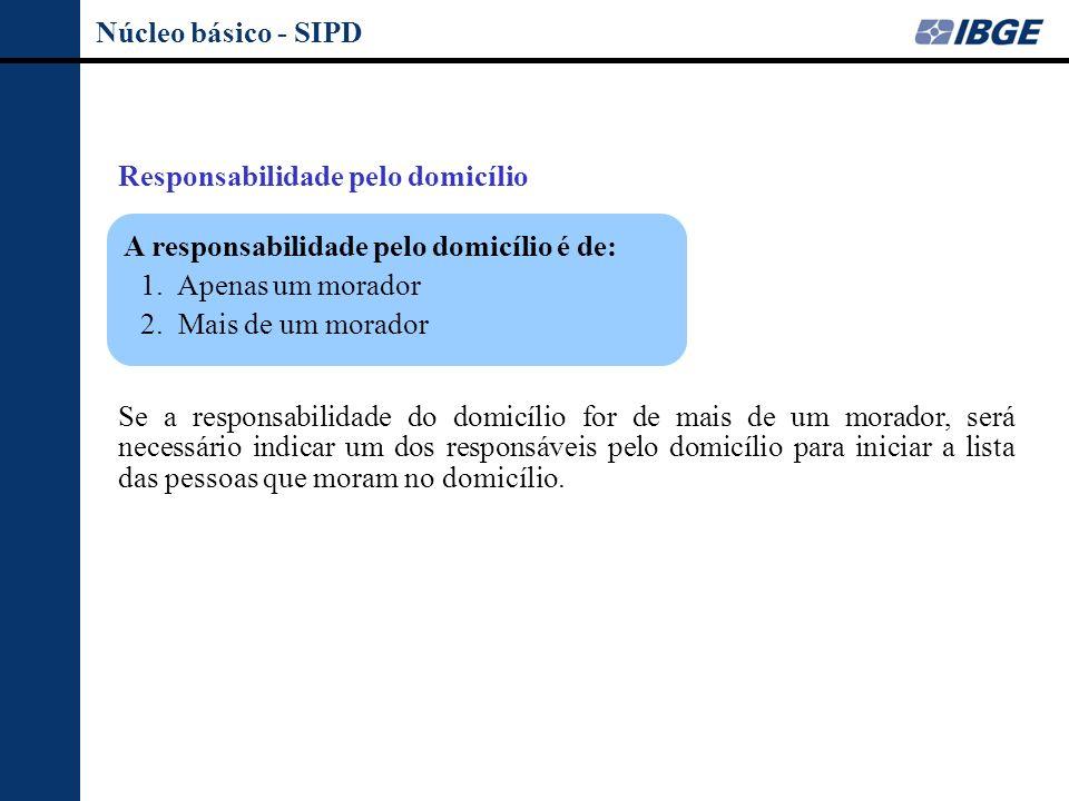 Núcleo básico - SIPD Responsabilidade pelo domicílio. A responsabilidade pelo domicílio é de: 1. Apenas um morador.