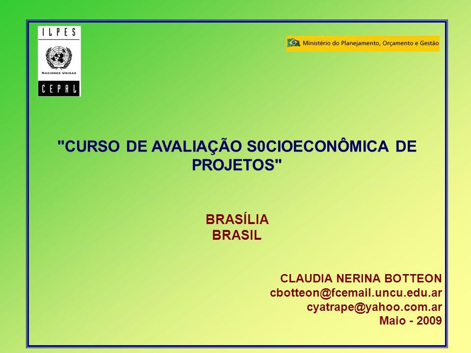 CURSO DE AVALIAÇÃO S0CIOECONÔMICA DE PROJETOS