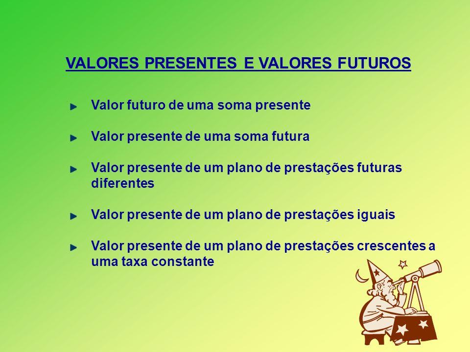 VALORES PRESENTES E VALORES FUTUROS