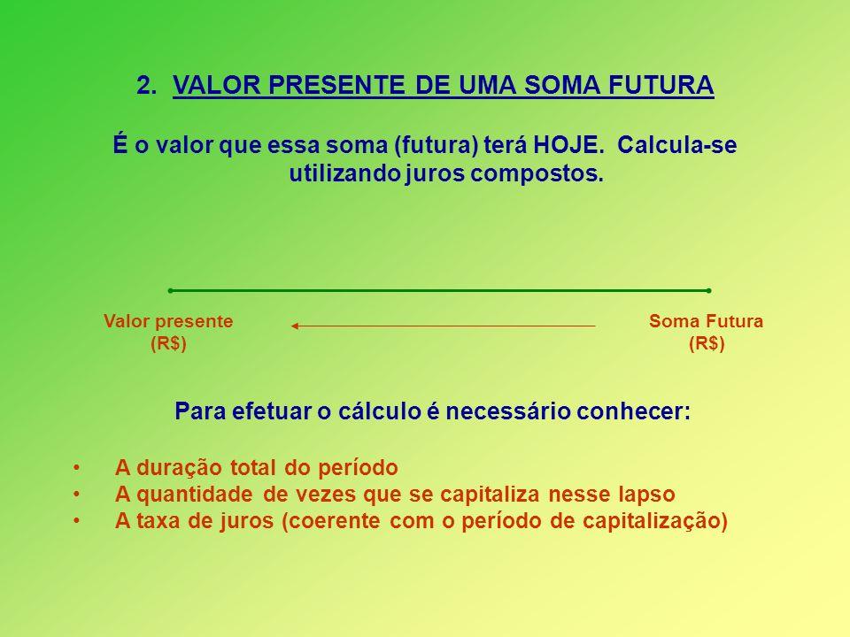 2. VALOR PRESENTE DE UMA SOMA FUTURA