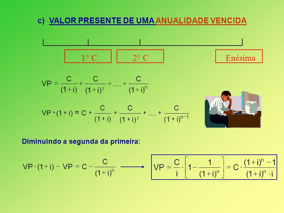 c) VALOR PRESENTE DE UMA ANUALIDADE VENCIDA