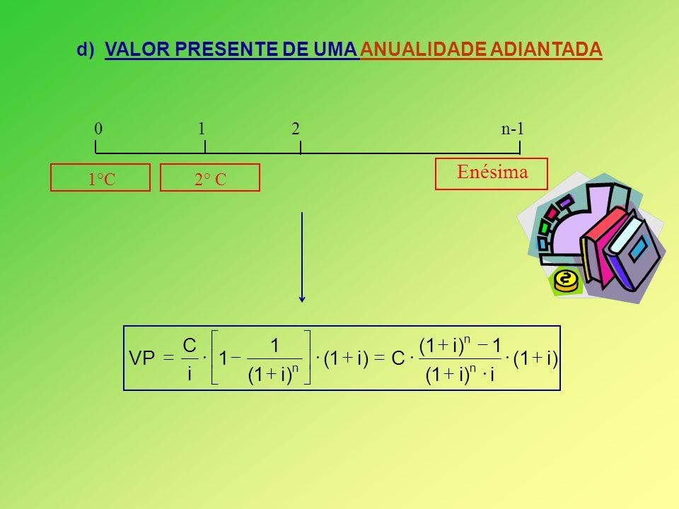 d) VALOR PRESENTE DE UMA ANUALIDADE ADIANTADA