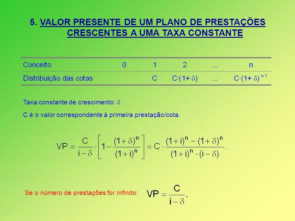 5. VALOR PRESENTE DE UM PLANO DE PRESTAÇÕES CRESCENTES A UMA TAXA CONSTANTE