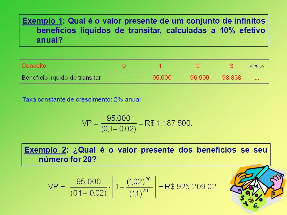 Exemplo 1: Qual é o valor presente de um conjunto de infinitos benefícios líquidos de transitar, calculadas a 10% efetivo anual