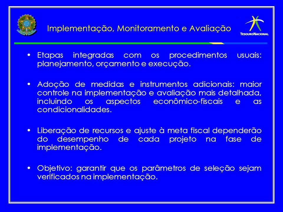 Implementação, Monitoramento e Avaliação