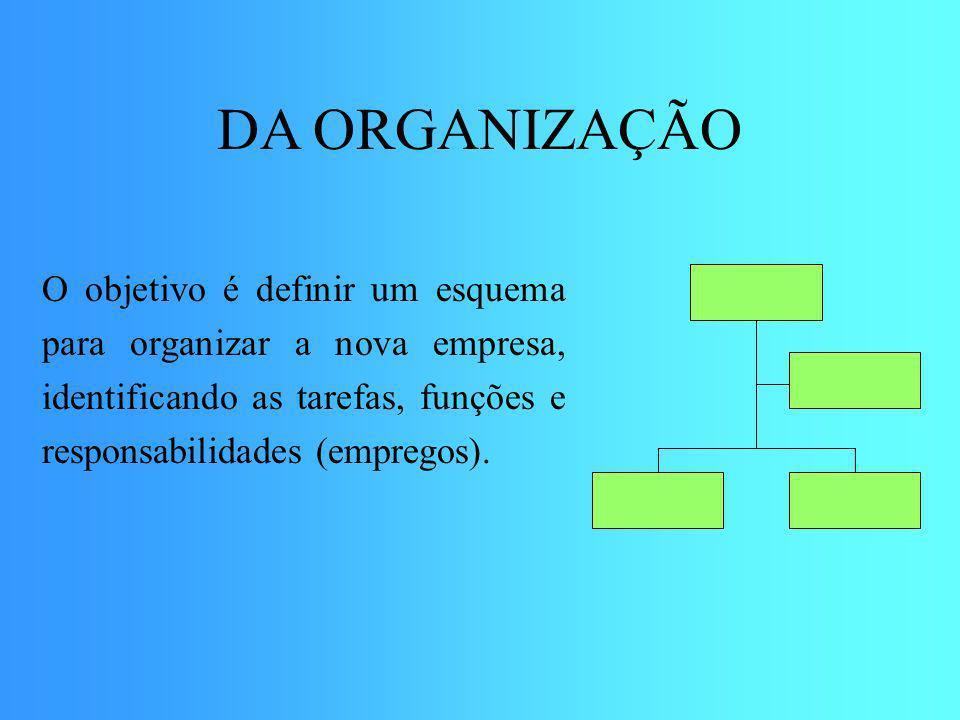 DA ORGANIZAÇÃO O objetivo é definir um esquema para organizar a nova empresa, identificando as tarefas, funções e responsabilidades (empregos).