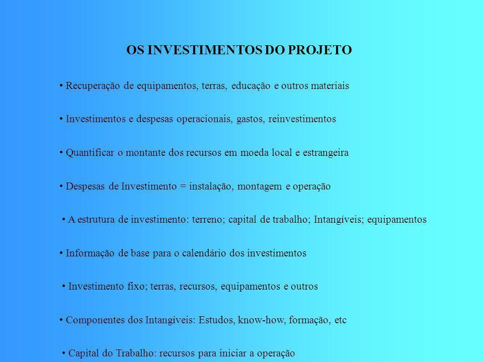 OS INVESTIMENTOS DO PROJETO • Recuperação de equipamentos, terras, educação e outros materiais