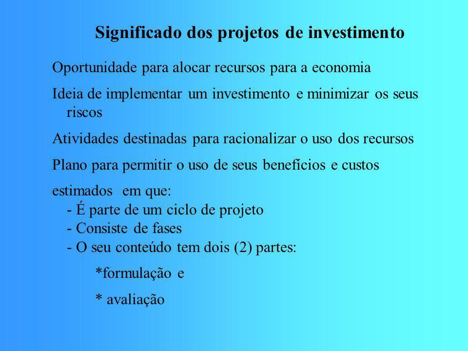 Significado dos projetos de investimento