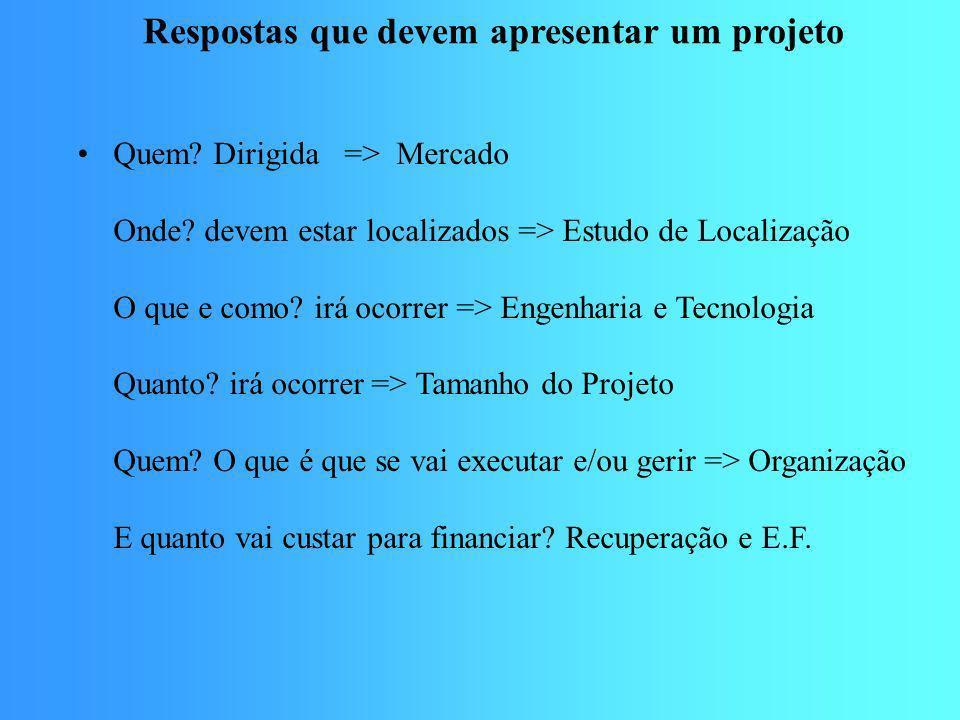 Respostas que devem apresentar um projeto
