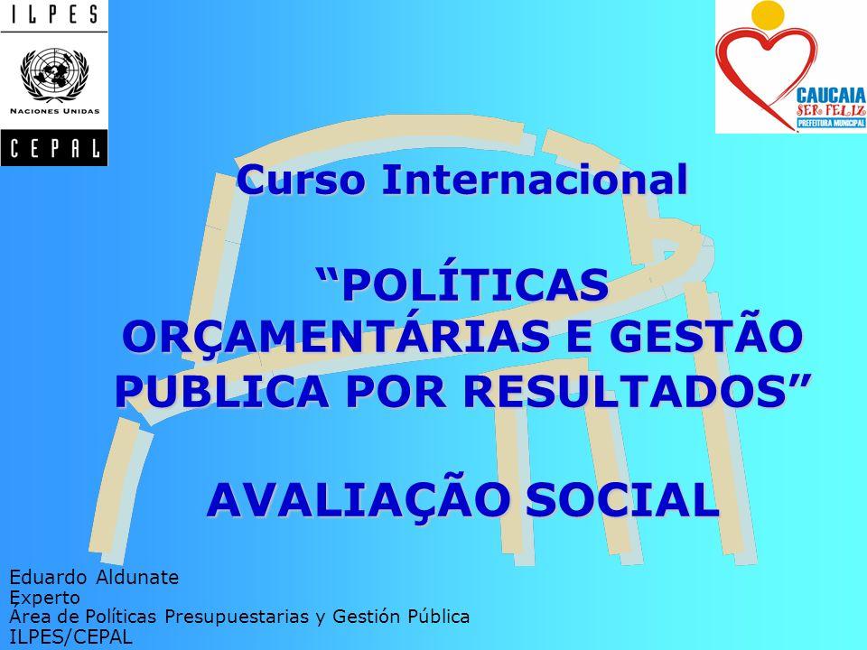 Curso Internacional POLÍTICAS ORÇAMENTÁRIAS E GESTÃO PUBLICA POR RESULTADOS AVALIAÇÃO SOCIAL