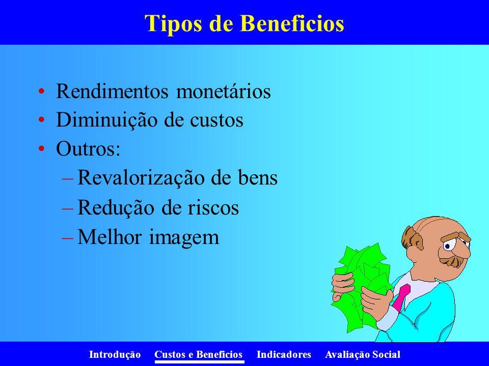 Tipos de Beneficios Revalorização de bens Redução de riscos