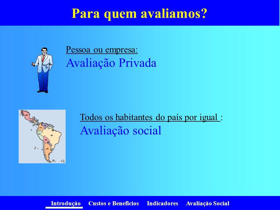 Para quem avaliamos Avaliação Privada Avaliação social