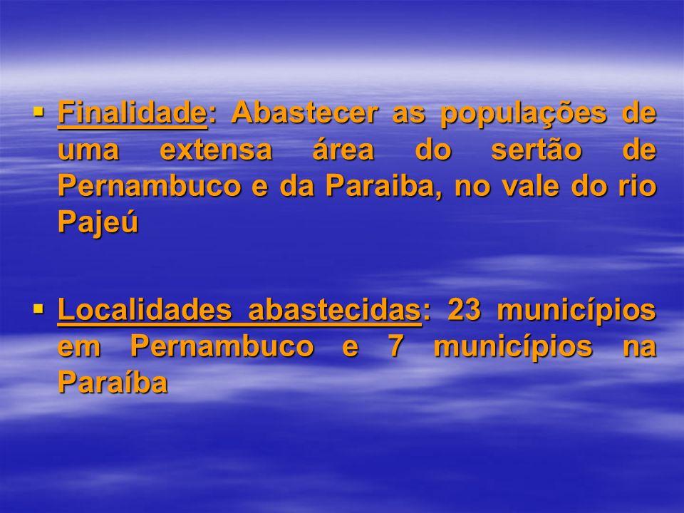 Finalidade: Abastecer as populações de uma extensa área do sertão de Pernambuco e da Paraiba, no vale do rio Pajeú