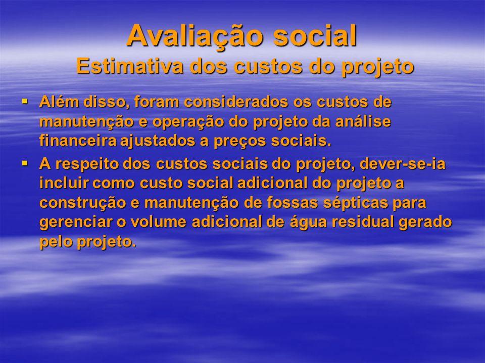 Avaliação social Estimativa dos custos do projeto