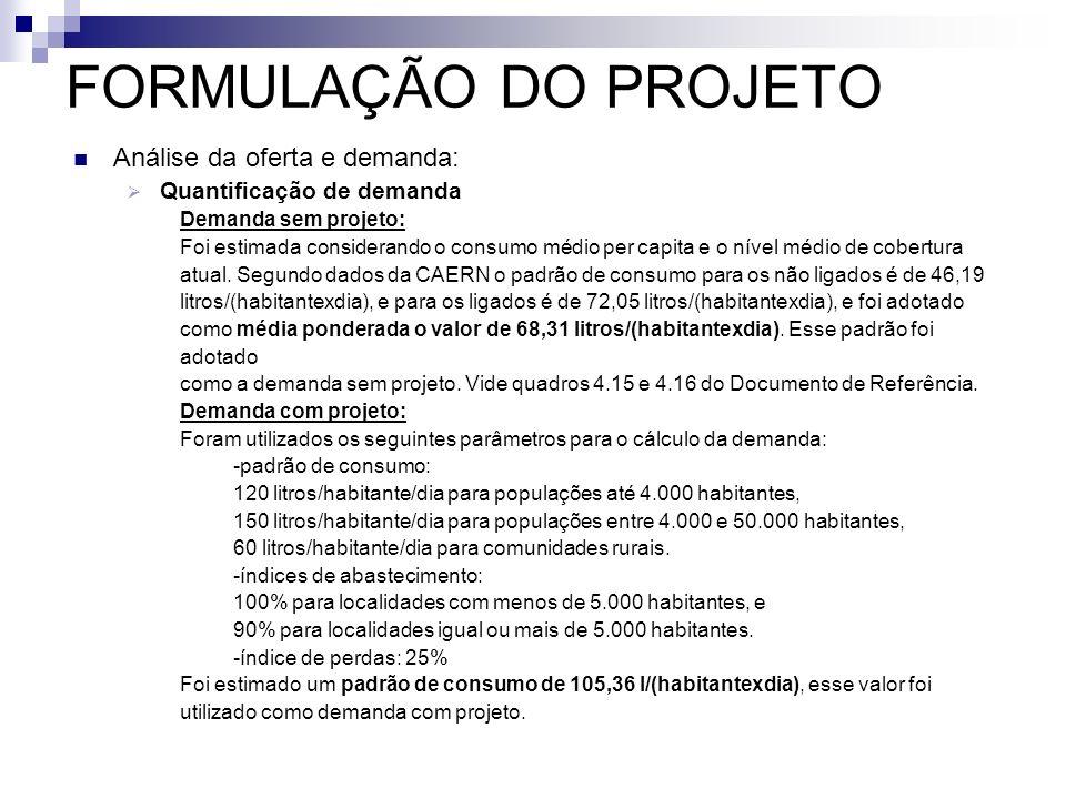 FORMULAÇÃO DO PROJETO Análise da oferta e demanda: