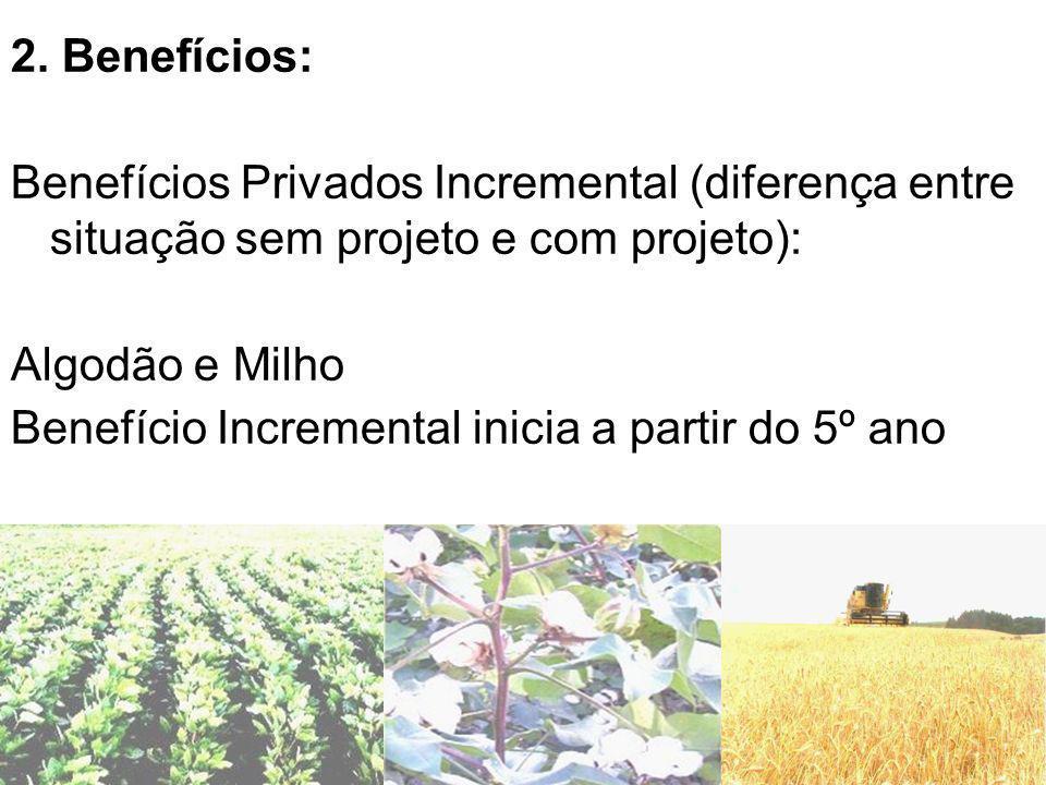 2. Benefícios: Benefícios Privados Incremental (diferença entre situação sem projeto e com projeto):