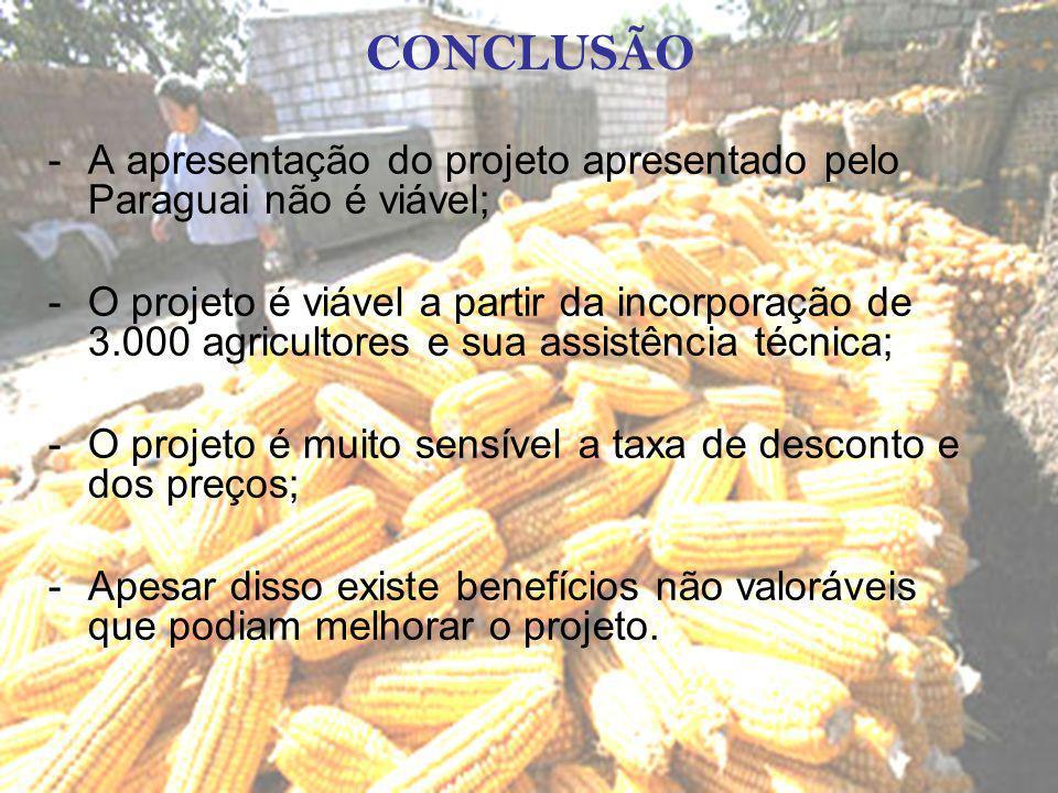 CONCLUSÃO A apresentação do projeto apresentado pelo Paraguai não é viável;