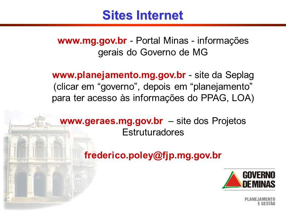 Sites Internet www.mg.gov.br - Portal Minas - informações gerais do Governo de MG.