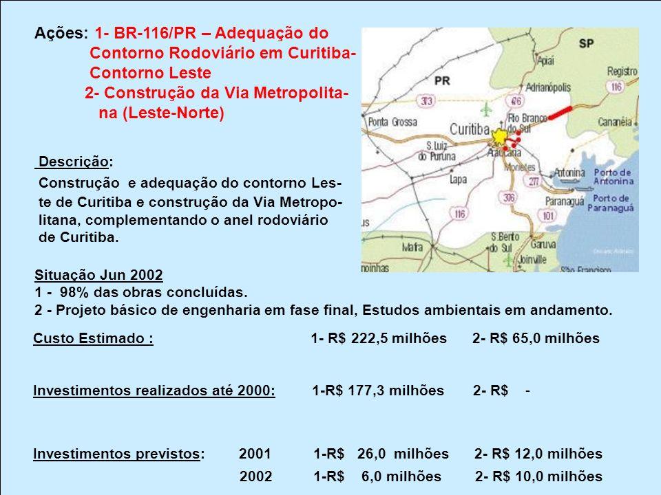 Ações: 1- BR-116/PR – Adequação do Contorno Rodoviário em Curitiba-