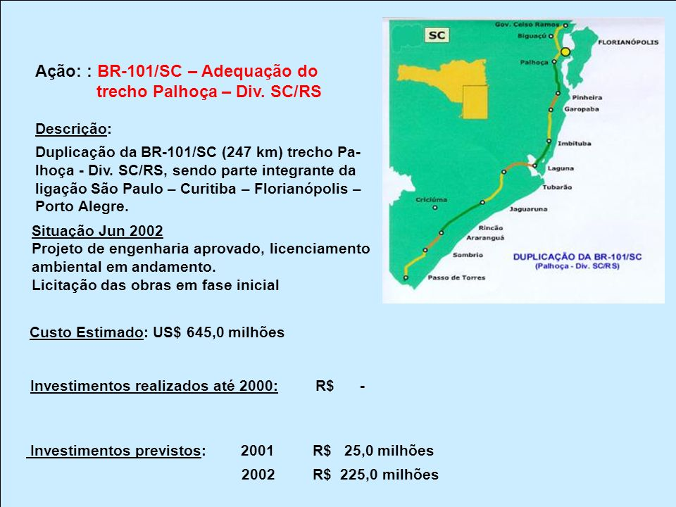 Ação: : BR-101/SC – Adequação do trecho Palhoça – Div. SC/RS