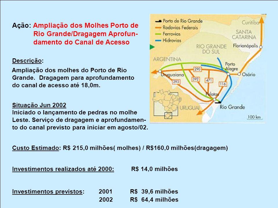 Ação: Ampliação dos Molhes Porto de Rio Grande/Dragagem Aprofun-