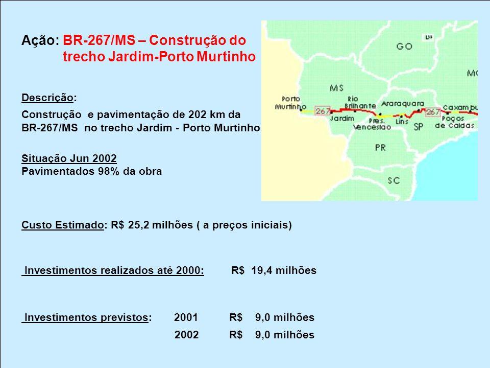 Ação: BR-267/MS – Construção do trecho Jardim-Porto Murtinho