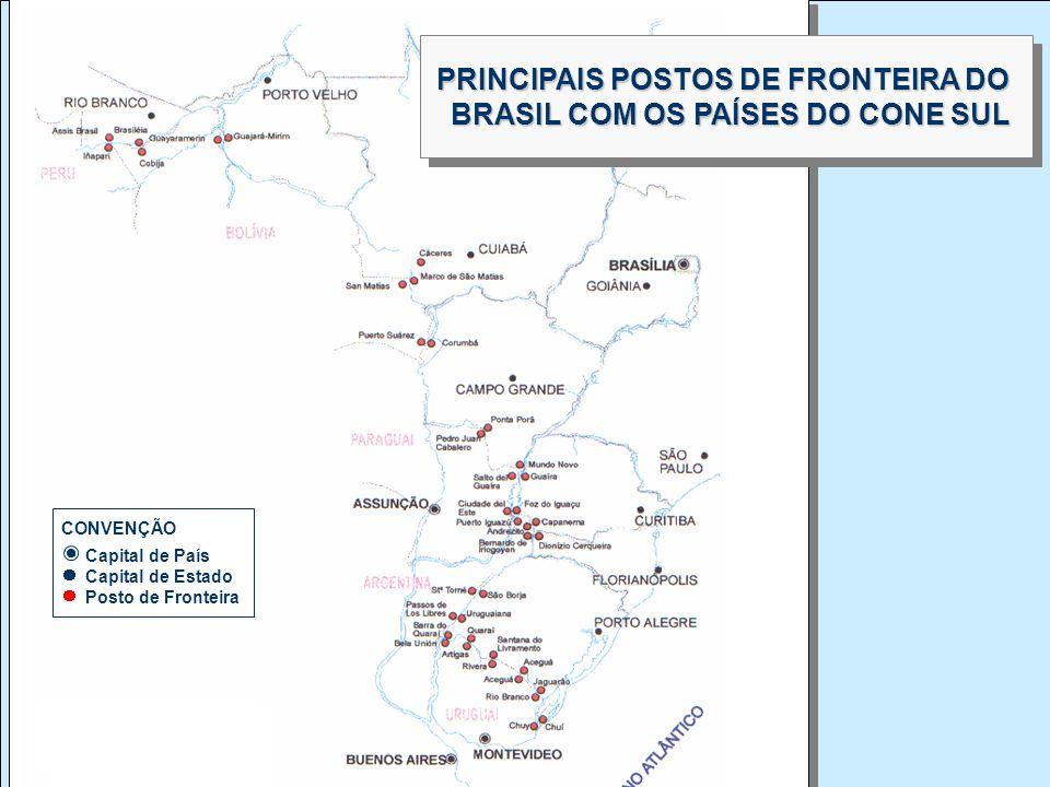 PRINCIPAIS POSTOS DE FRONTEIRA DO BRASIL COM OS PAÍSES DO CONE SUL