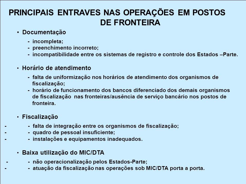 PRINCIPAIS ENTRAVES NAS OPERAÇÕES EM POSTOS DE FRONTEIRA
