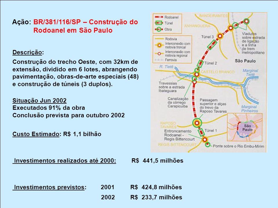 Ação: BR/381/116/SP – Construção do Rodoanel em São Paulo