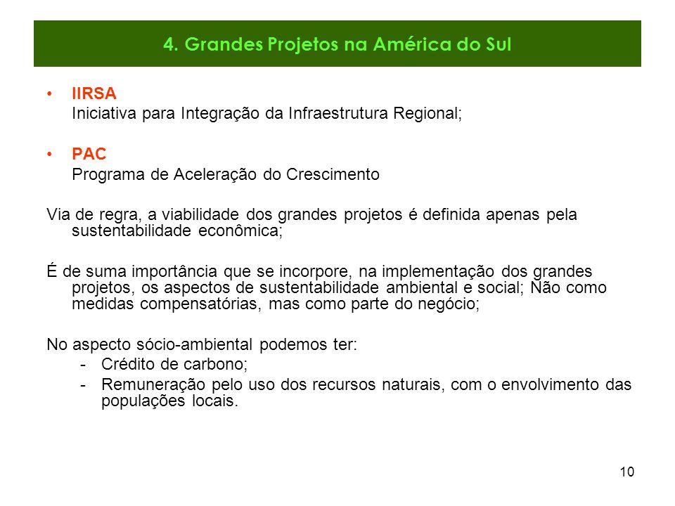 4. Grandes Projetos na América do Sul
