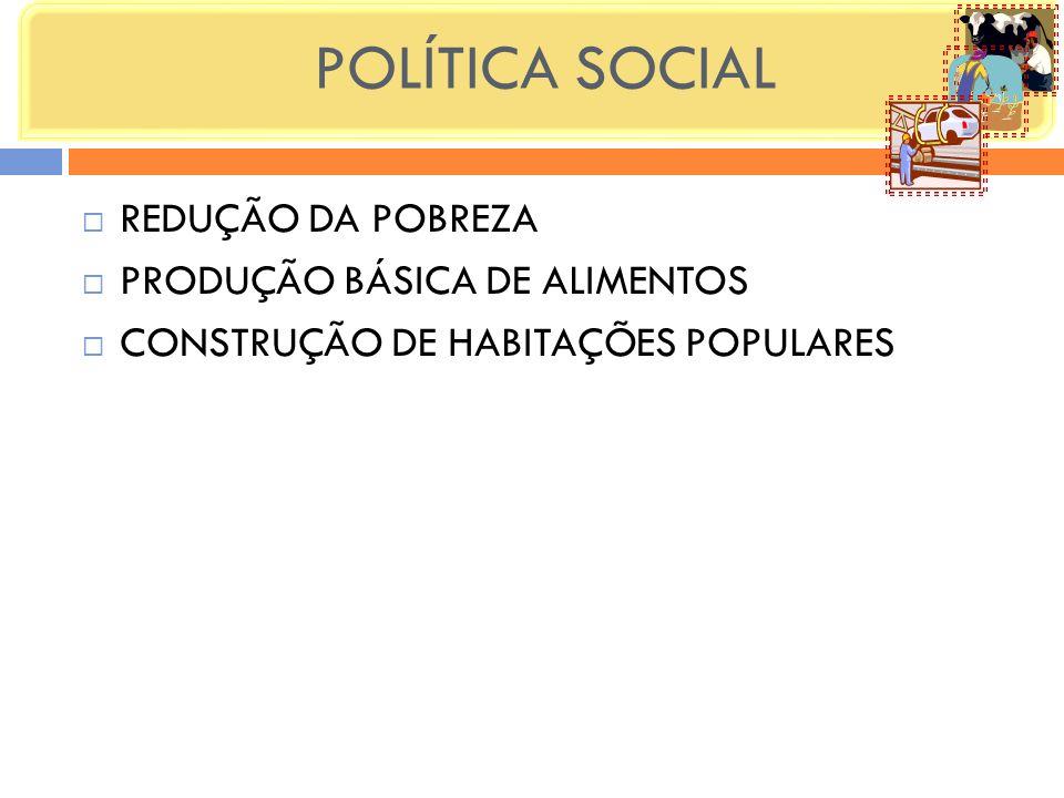 POLÍTICA SOCIAL REDUÇÃO DA POBREZA PRODUÇÃO BÁSICA DE ALIMENTOS