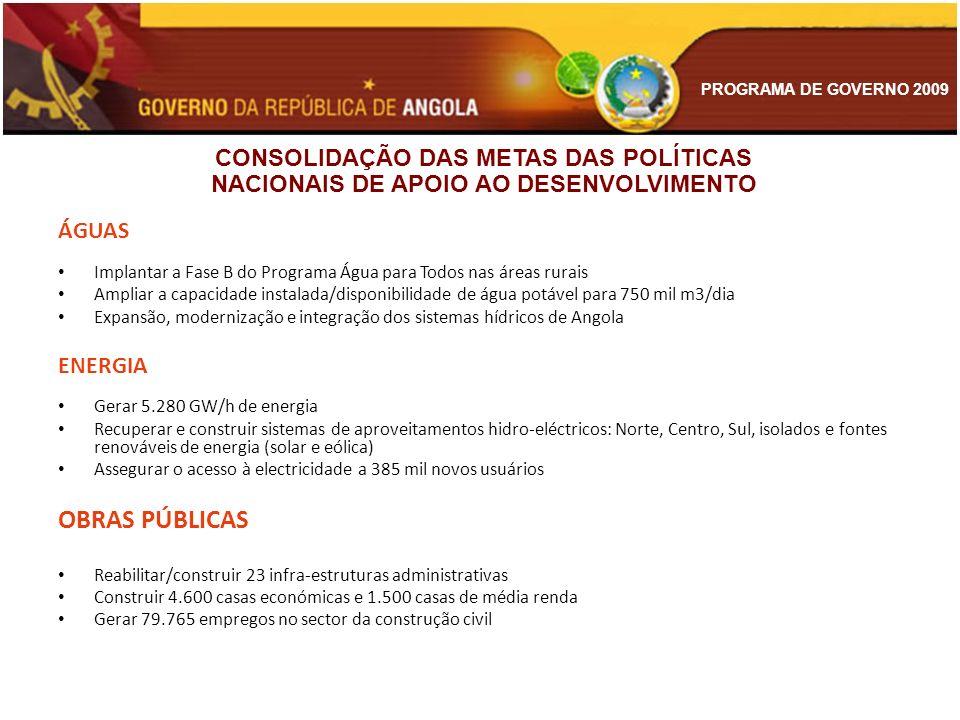 CONSOLIDAÇÃO DAS METAS DAS POLÍTICAS NACIONAIS DE APOIO AO DESENVOLVIMENTO