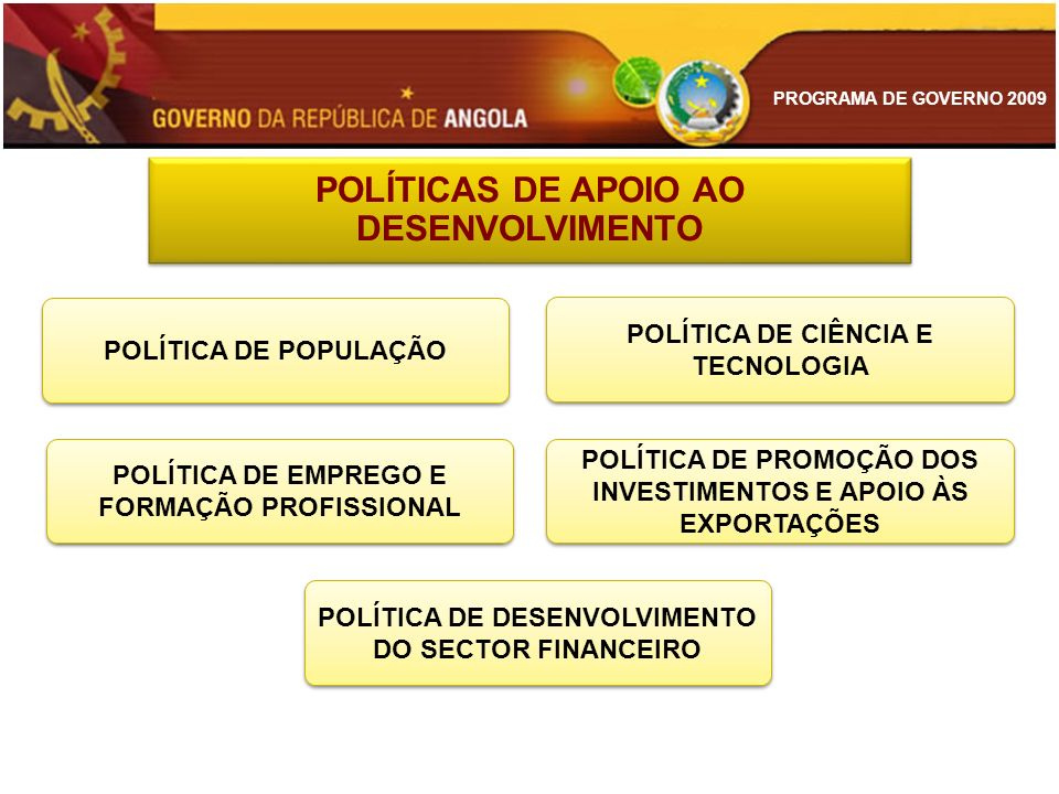 POLÍTICAS DE APOIO AO DESENVOLVIMENTO